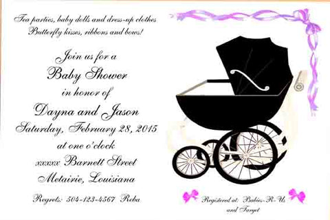 BUGGY AND BOWS CUSTOM INVITATION