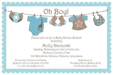 CLOTHES LINE CUSTOM INVITATION
