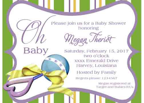 BABY RATTLE WITH BOW CUSTOM INVITATION