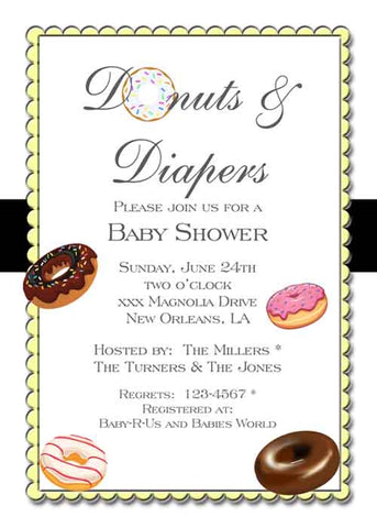 DONUTS AND DIAPERS CUSTOM INVITATION