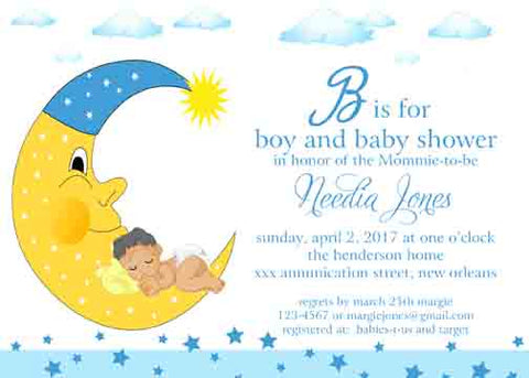 BABY SLEEPING IN MOON CUSTOM INVITATION