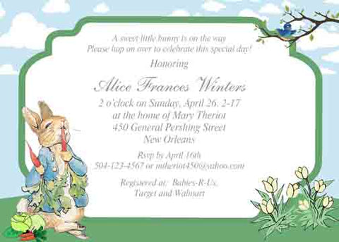 PETER RABBIT CUSTOM INVITATION