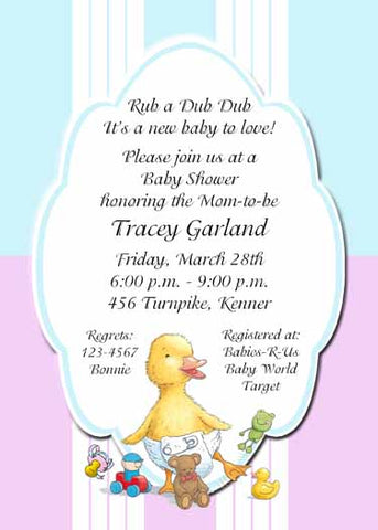 BABY DUCK WITH TOYS CUSTOM INVITATION