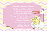 STORK WITH FLOWERS CUSTOM INVITATION