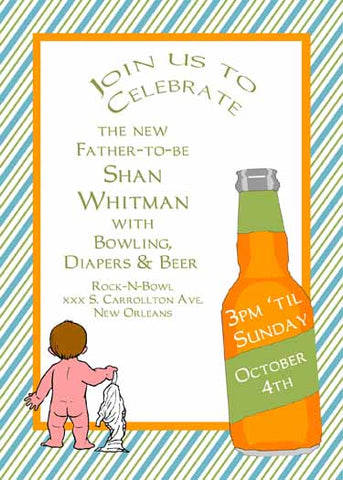 BARE BOTTOM, DIAPERS AND BEER CUSTOM INVITATION