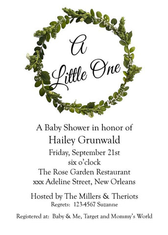 TRADITIONAL GREEN WREATH CUSTOM INVITATION