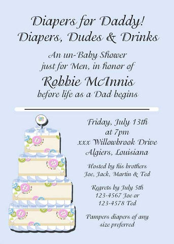 BUTTON BABY CAKE CUSTOM INVITATION