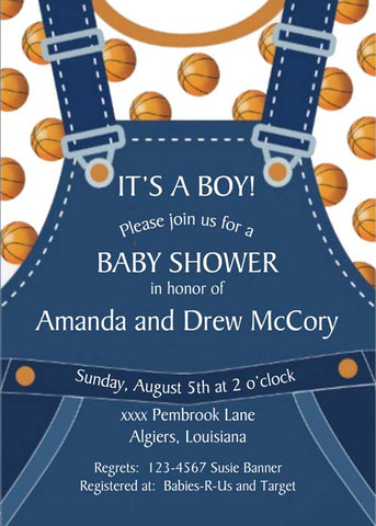 OVERALLS AND BASKETBALLS CUSTOM INVITATION