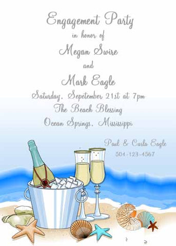 CHAMPAGNE ON THE BEACH CUSTOM INVITATION