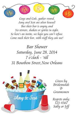 BUCKET OF DRINKS AND LANTERNS CUSTOM INVITATION