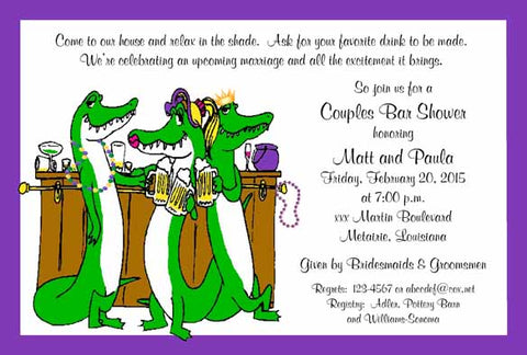 ALLIGATORS AT THE BAR CUSTOM INVITATION