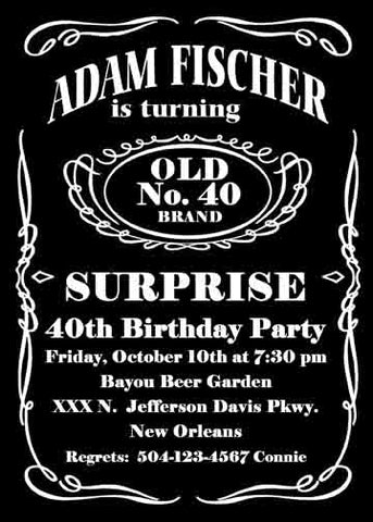 JACK DANIEL LABEL CUSTOM INVITATION