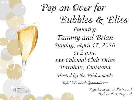 BUBBLES AND BLISS CUSTOM INVITATION