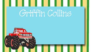 STRIPES AND BIG WHEEL TRUCK PERSONALIZED GIFT OR CALLING CARDS