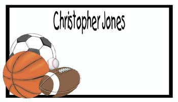 SPORTS BALLS PERSONALIZED GIFT OR CALLING CARDS