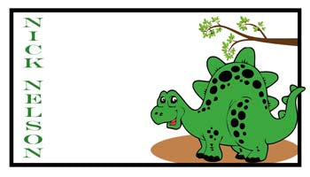 GREEN DINOSAUR PERSONALIZED GIFT OR CALLING CARDS