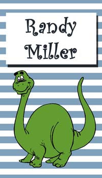 GREEN DINO AND STRIPES PERSONALIZED GIFT OR CALLING CARDS