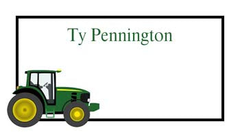 GREEN TRACTOR PERSONALIZED GIFT OR CALLING CARDS