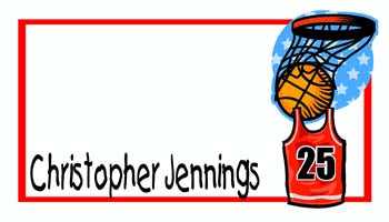 BASKETBALL, GOAL AND JERSEY PERSONALIZED GIFT OR CALLING CARDS