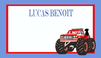 BIG WHEEL TRUCK AND DOG PERSONALIZED GIFT OR CALLING CARDS