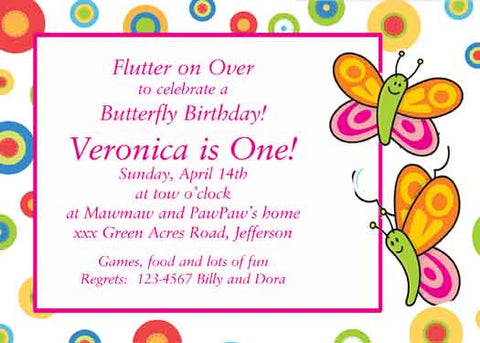 BUTTERFLIES CUSTOM INVITATION