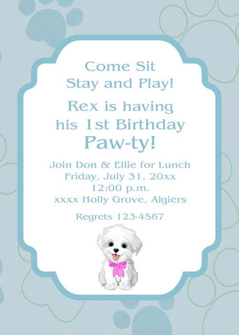 PET PARTY - PAWS BACKGROUND CUSTOM INVITATION