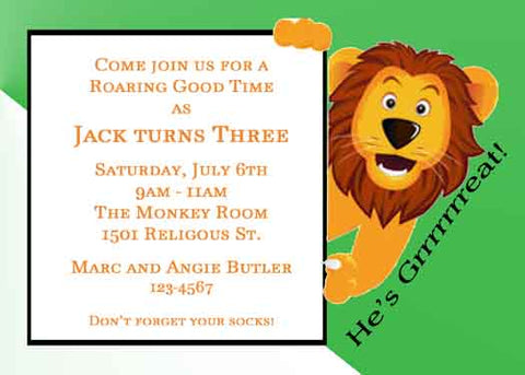 LION ROARING FOR A GOOD TIME CUSTOM INVITATION