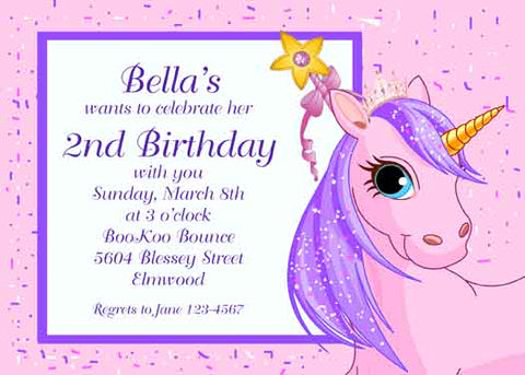 HEAD OF A UNICORN CUSTOM INVITATION