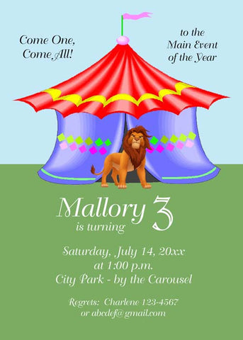 LION AND CIRCUS TENT CUSTOM INVITATION