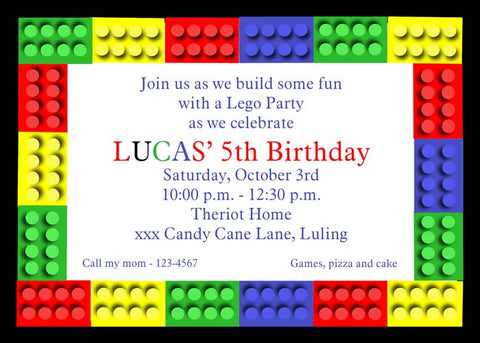 LEGO PIECES CUSTOM INVITATION