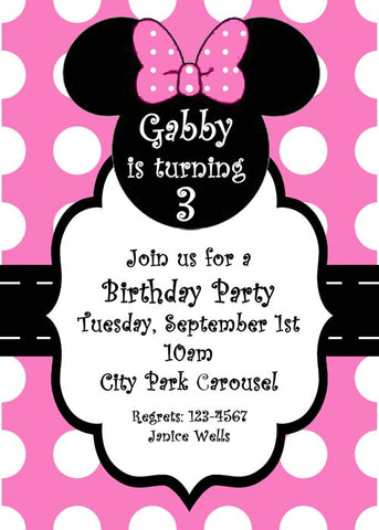 MINNIE MOUSE SILHOUETTE CUSTOM INVITATION
