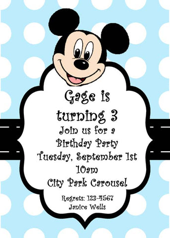 MICKIE MOUSE HEAD CUSTOM INVITATION