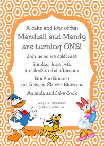 DONALD AND DAISY DUCK CUSTOM INVITATION