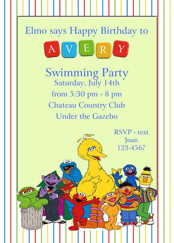 SESAME STREET GANG CUSTOM INVITATION