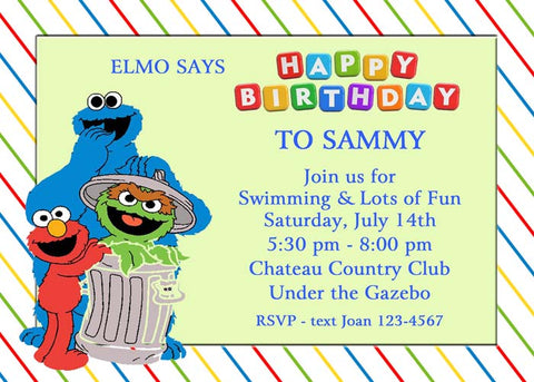 SESAME STREET GANG 2 CUSTOM INVITATION