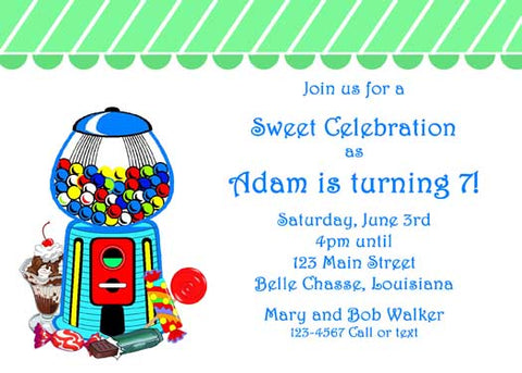 BUBBLE GUM SWEETS CUSTOM INVITATION