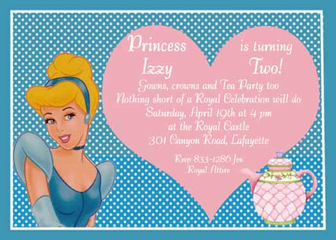 CINDERELLA HEART TEA CUSTOM INVITATION
