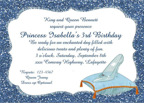 GLASS SLIPPER ON PILLOW AND GLITTER CUSTOM INVITATION