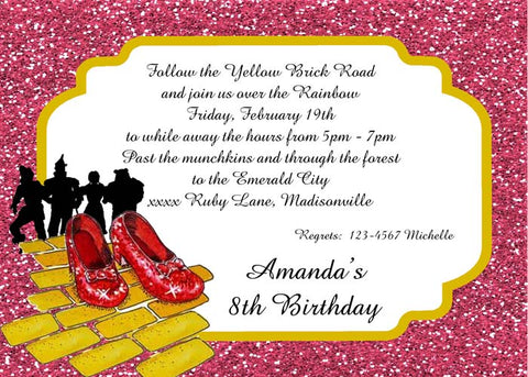 RUBY RED SHOES-WIZARD OF OZ CUSTOM INVITATION