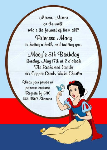 SNOW WHITE SITTING CUSTOM INVITATION