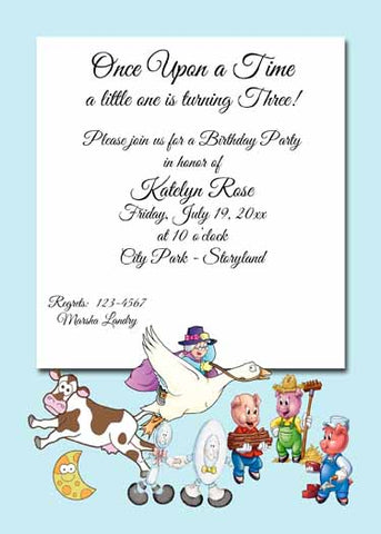 NURSERY RHYME CHARACTERS CUSTOM INVITATION