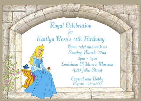 SLEEPING BEAUTY IN CASTLE CUSTOM INVITATION