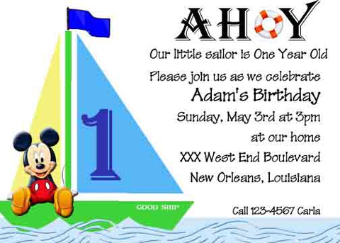 SAILBOAT MICKEY CUSTOM INVITATION