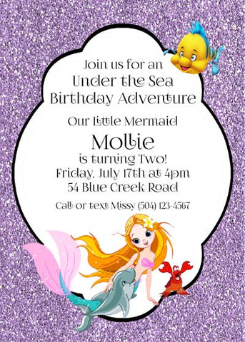 DOLPHIN AND MERMAID CUSTOM INVITATION