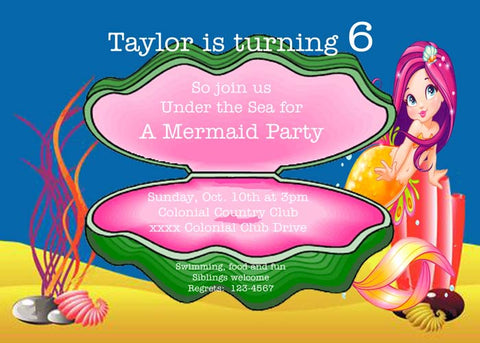 SEASHELL AND MERMAID CUSTOM INVITATION