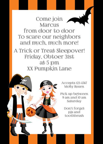 CHILDREN IN PIRATE COSTUMES CUSTOM INVITATION