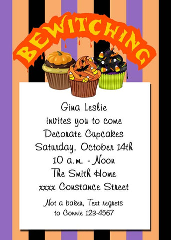 BEWITCHING CUPCAKES CUSTOM INVITATION