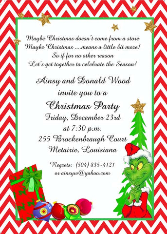 THE GRINCH, PRESENTS AND STARS CUSTOM INVITATION