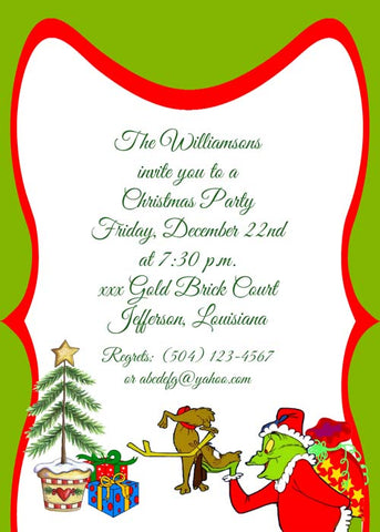 THE GRINCH AND DOG CUSTOM INVITATION