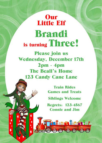 GIRL ELF CUSTOM INVITATION